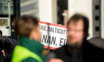 Rail Balticu vastane meeleavaldus. FOTO: EERO VABAMÄGI/Eesti Meedia/Scanpix